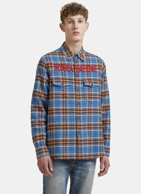 Gucci Scarabaeidae Beetle Patch Checked Shirt