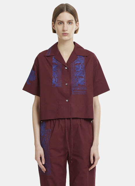 Acne Studios Livvi Floral Embroidered Cropped Shirt