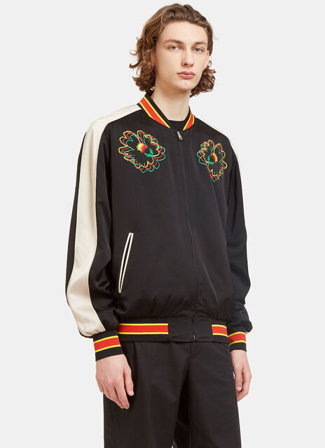 Nice One Flower Embroidered Bomber Jacket