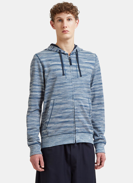 Missoni Striped Zip-Up Cotton Hooded Sweater