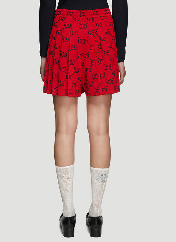 4d46e413cf Gucci GG Jersey Pleated Shorts in Red | LN-CC