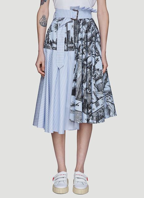 JW Anderson Durer Scene Print Striped Skirt