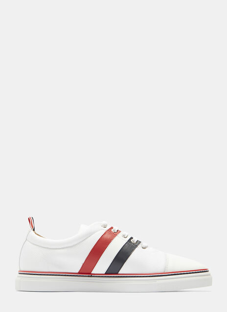 Thom Browne Striped Tech Leather Cap Sneakers