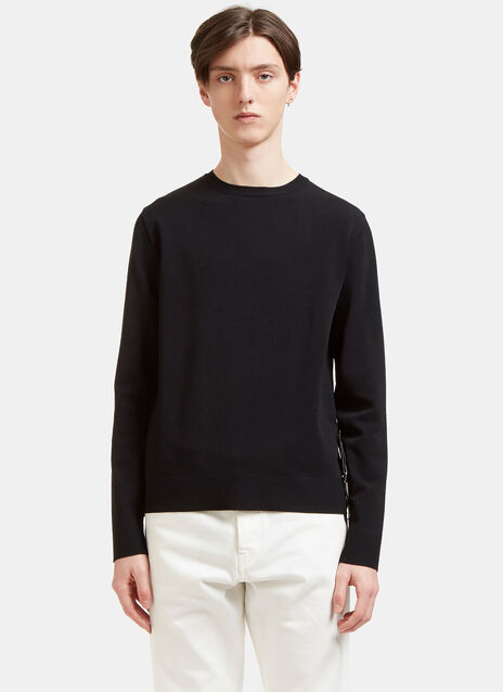 Press Stud Leather Strap Sweater