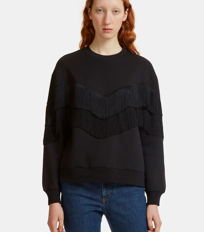 Fringed Dropped Sleeve Sweater