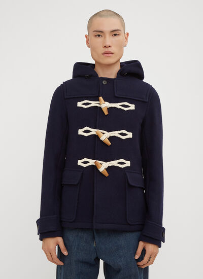 JW Anderson Hooded Wooden Toggle Wool Duffle Coat