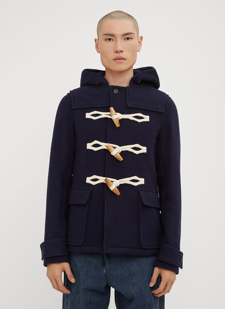 JW Anderson Hooded Wooden Toggle Wool Duffle Jacket