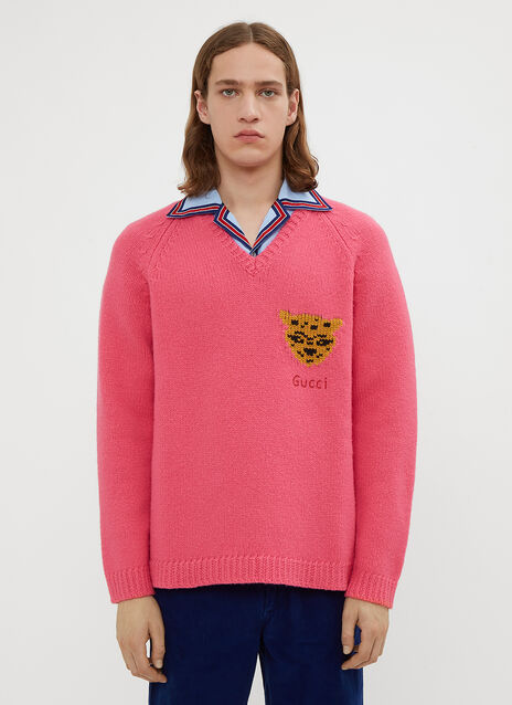 Gucci V-Neck Tiger Intarsia Knit Sweater