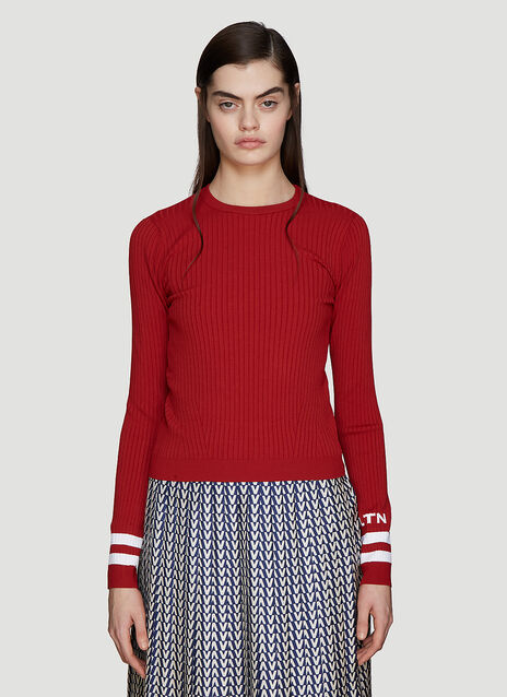 Valentino Jacquard Ribbed Knit Top