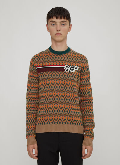 Prada Crewneck Logo Knit Sweater