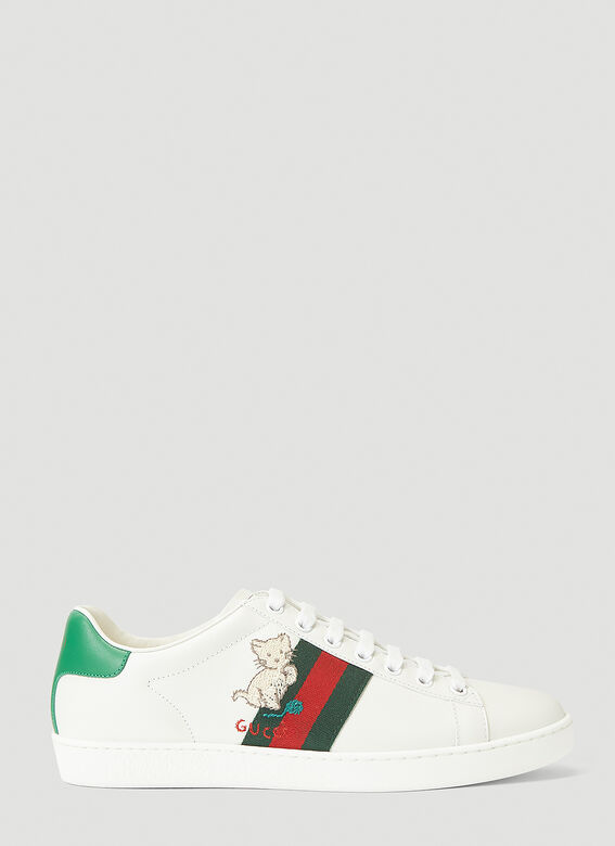 Gucci Embroidered Ace Sneakers in White