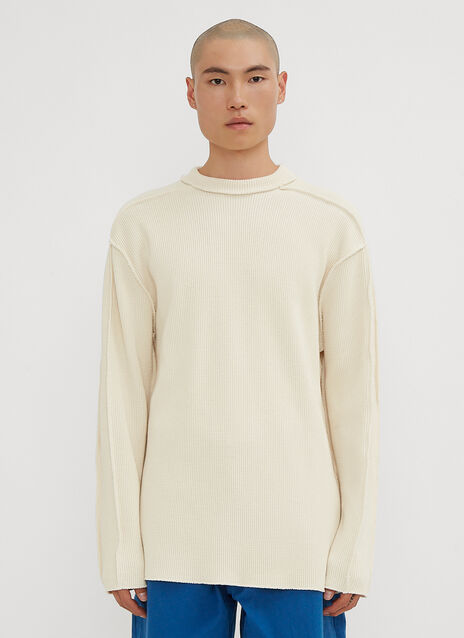 MAN-TLE Raw Edge Long Sleeve Waffle Sweater