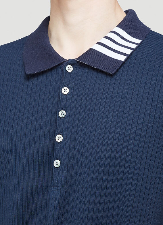 Thom Browne SHORT SLEEVE POLO W 4 BAR COLLAR IN 5X2 RIB 4