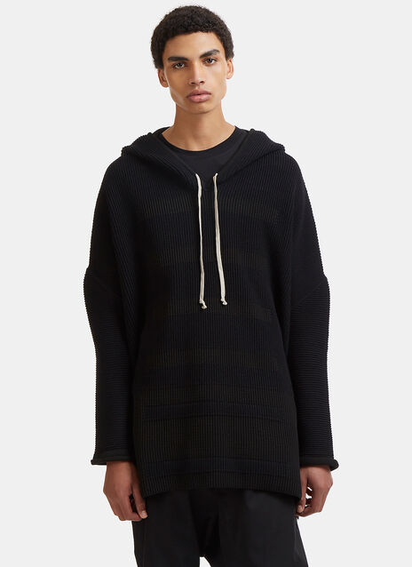 Oversized Contrast Ribbed Knit Hooded Sweater