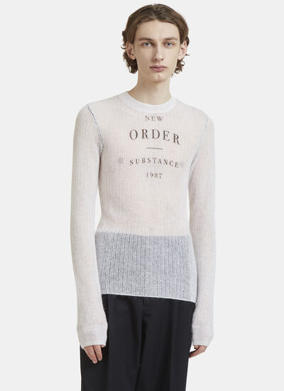 Raf Simons New Order Round Neck Knit Sweater