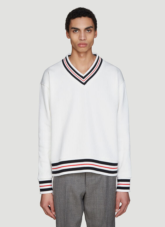 Thom Browne Ribbed Knit Cricket Sweater