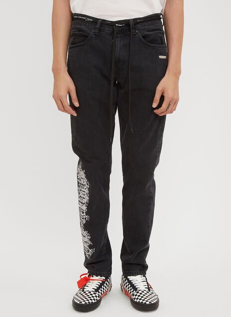 Off-White Ornate Logo Embroidered Denim Jeans