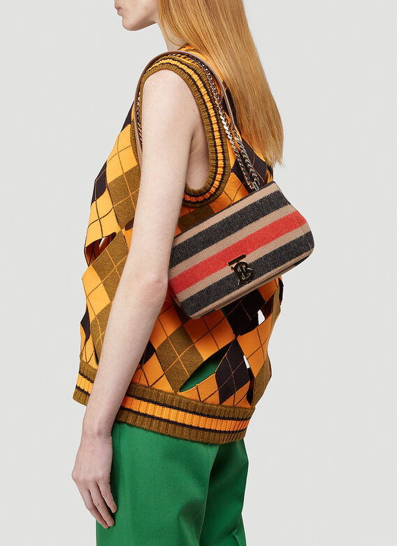 Burberry Lola Striped Wool Small Shoulder Bag 2