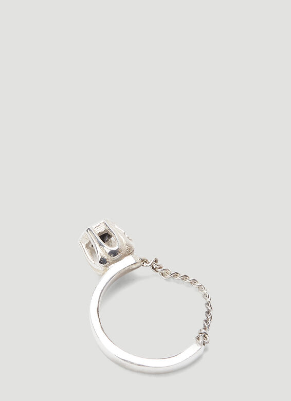 Mass STERLING SILVER BLACK SPINEL COBBLE RING 3