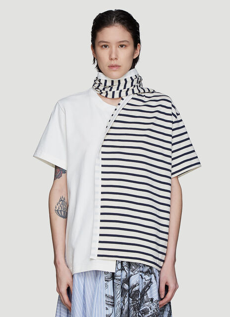 JW Anderson Striped Drape Scarf T-Shirt