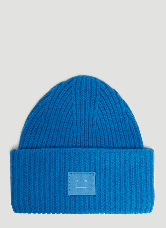 ca4c70b09ab Acne Studios Pansy N Face Knit Hat in Blue