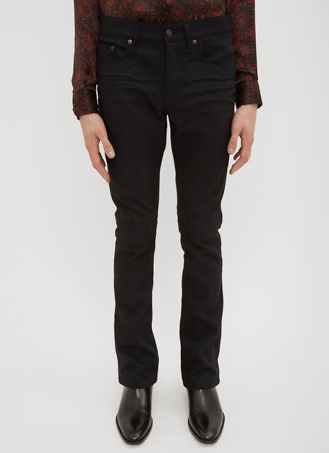 Saint Laurent Coated Boot Cut Jeans