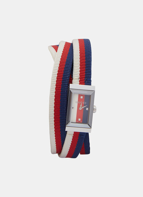 Gucci G-Frame Striped Web Strap Watch