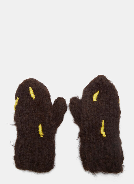 Abstract Hand-Stitched Embroidered Gloves