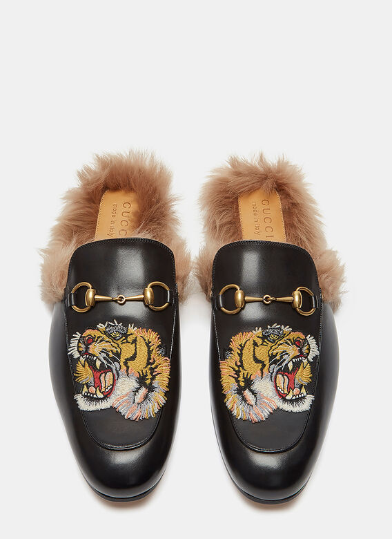607288915 Gucci Princetown Tiger Embroidered Fur Slip-On Loafers