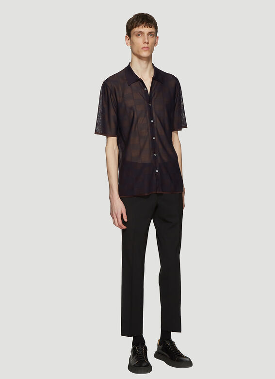 84c717ef0cd5 Missoni Sheer Button Front Polo Shirt in Purple | LN-CC