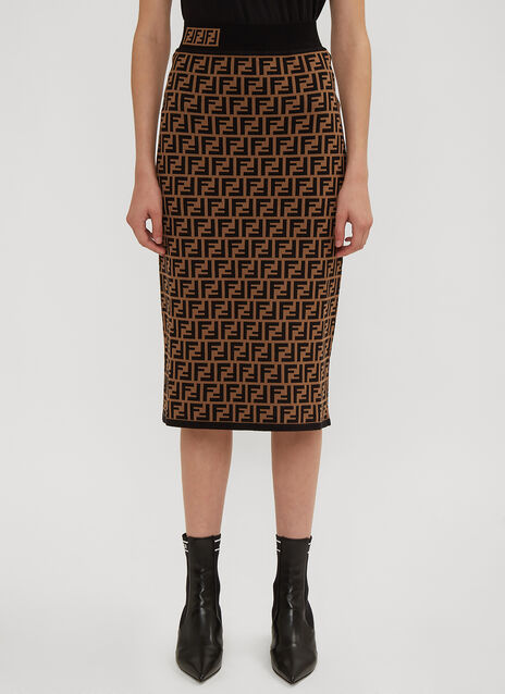 Fendi FF Logo Intarsia Knit Pencil Skirt