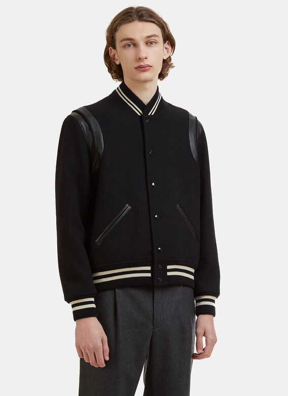 Woven Panelled Teddy Jacket In Black by Saint Laurent
