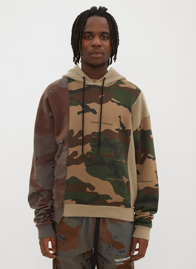 Off-White Hooded Reconstructed Camo Print Sweater