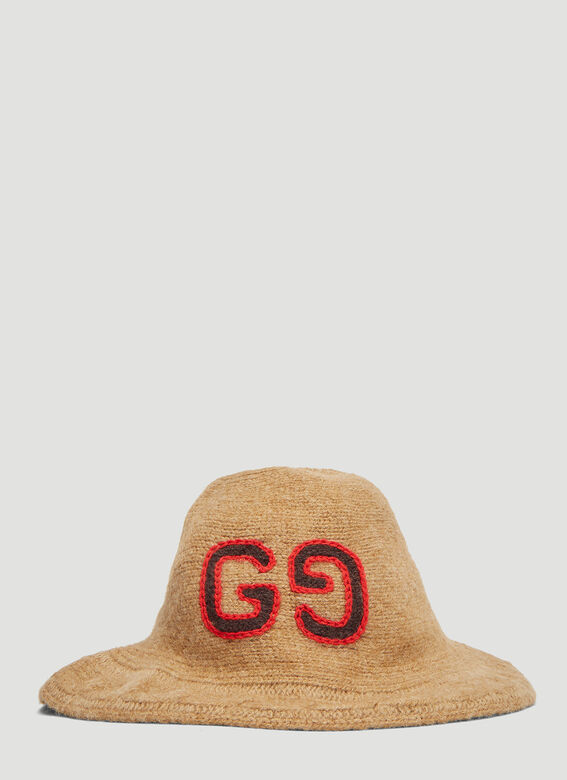 Gucci GG Cable Knit Bucket Hat in Brown  dca58200388