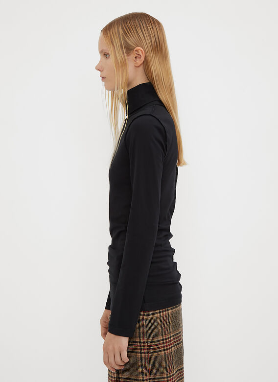 Vetements Fitted Inside Out Turtle Neck Top