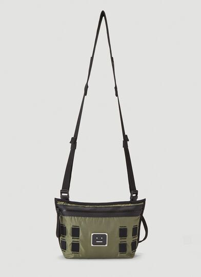 아크네 스튜디오 Acne Studios Face Plaque Crossbody Bag in Green