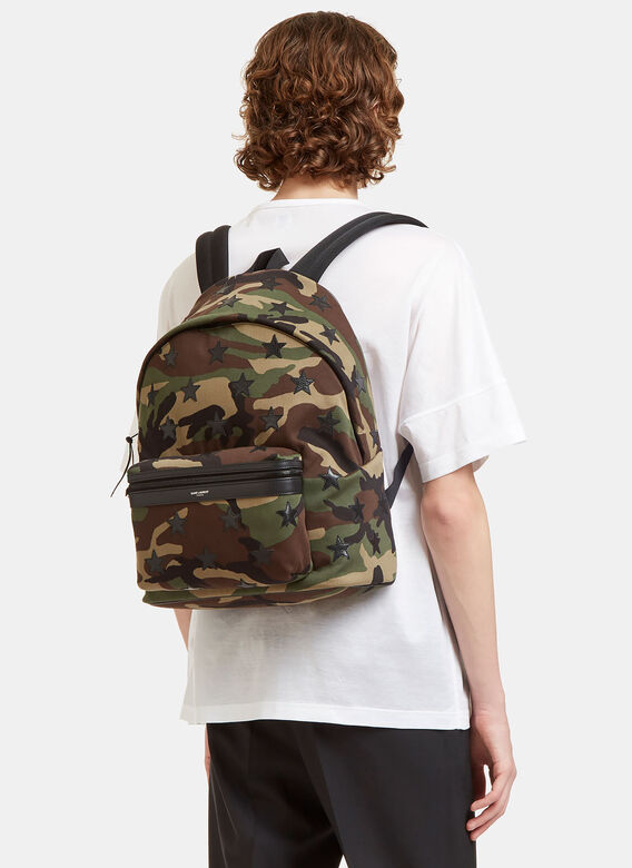 f7e31f3df9a9 Saint Laurent Camouflage Star Appliqué Canvas Hunting Backpack