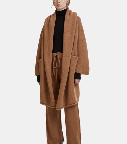 Hooded Open Front Capote Knit Coat