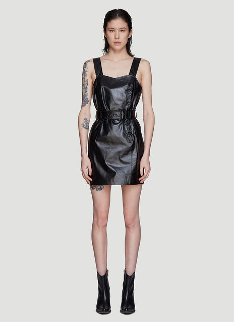 Olivier Theyskens Belted Hook and Eye Leather Dress