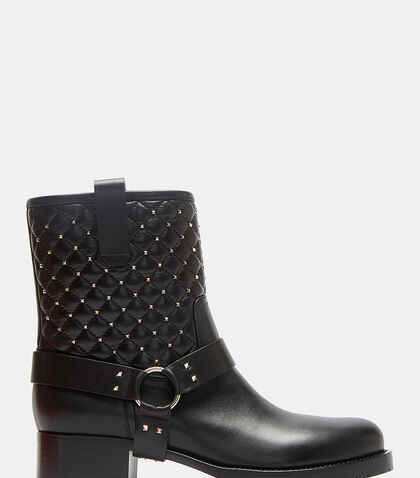 Diamond-Quilted Pyramid-Studded Biker Boots