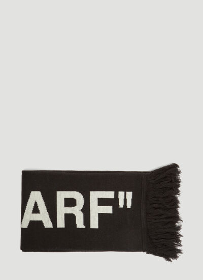 Off-White Fringed Intarsia Knit Scarf