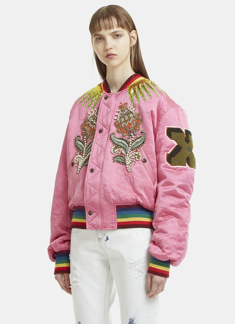 Gucci Reversible Quilted Jewelled Bomber Jacket