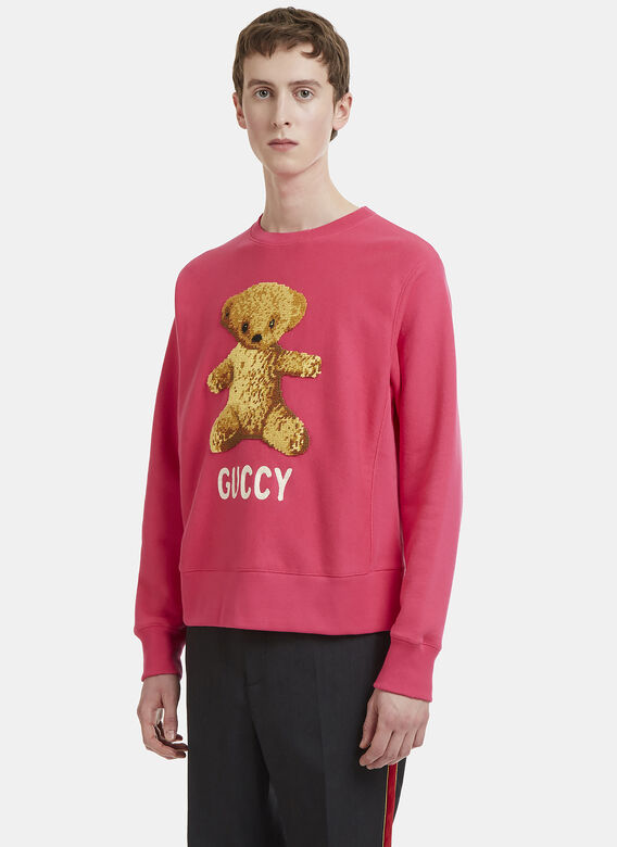 Guccy Teddy Bear Cross Stitch Sweater In Pink by Gucci