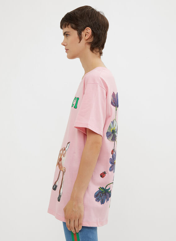 0e3df6c98 Gucci Painted Floral Bambi Logo T-Shirt in Pink | LN-CC