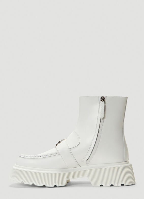GUCCI Crystals Hunder Boots in White