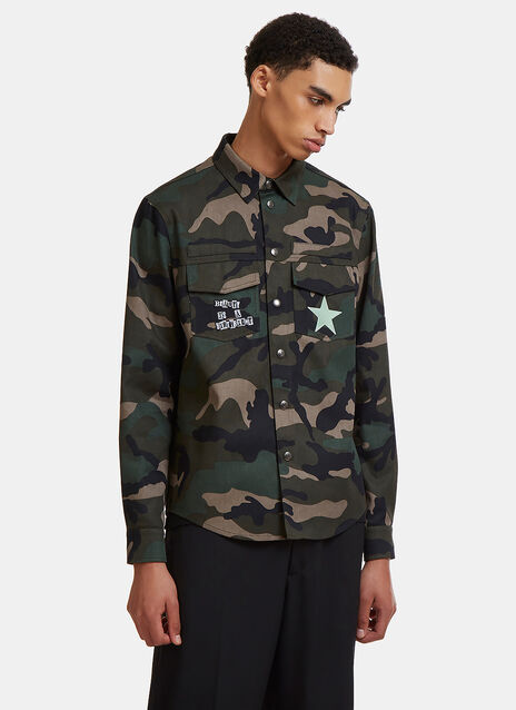 Valentino Jamie Reid Graphic Military Shirt Jacket