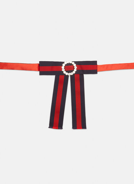 Gucci Jewelled Grosgrain Web Neck Bow