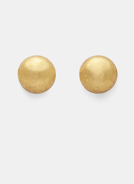 7783 Small Gold Leaf Painted Sphere Clip-On Earrings