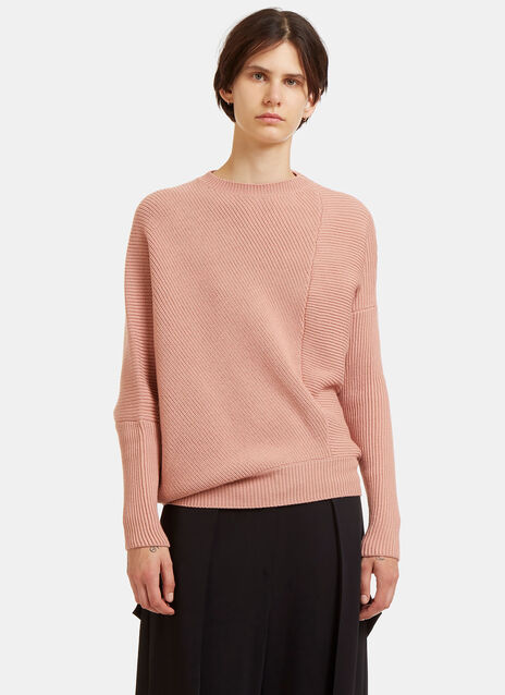 Oversized Asymmetric Ribbed Knit Sweater