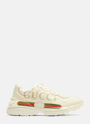 1a1666394 Gucci Rhyton Gucci Logo Leather Sneakers in White | LN-CC